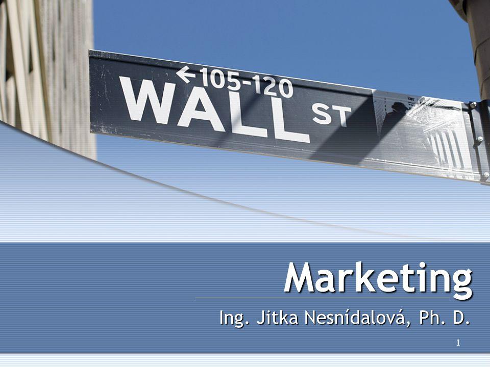 1 Marketing Ing. Jitka Nesnídalová, Ph. D.