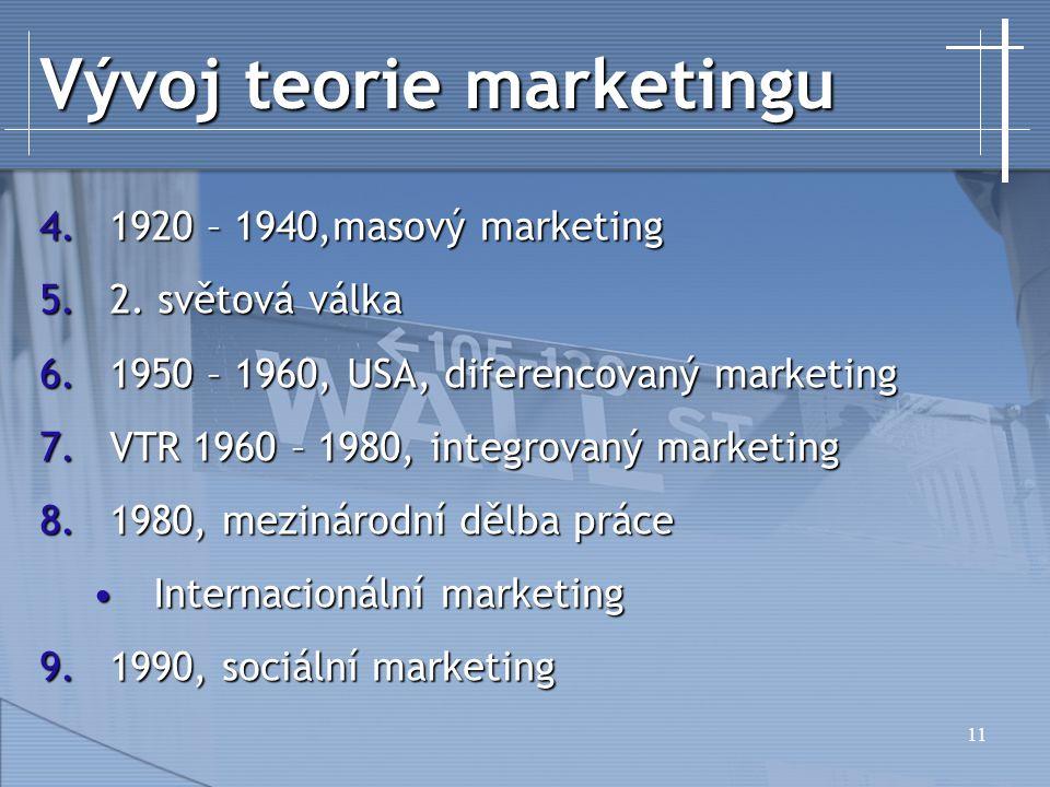 11 Vývoj teorie marketingu 4.1920 – 1940,masový marketing 5.2.