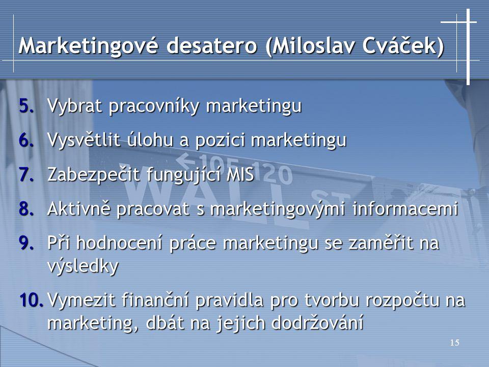 15 Marketingové desatero (Miloslav Cváček) 5.Vybrat pracovníky marketingu 6.Vysvětlit úlohu a pozici marketingu 7.Zabezpečit fungující MIS 8.Aktivně p
