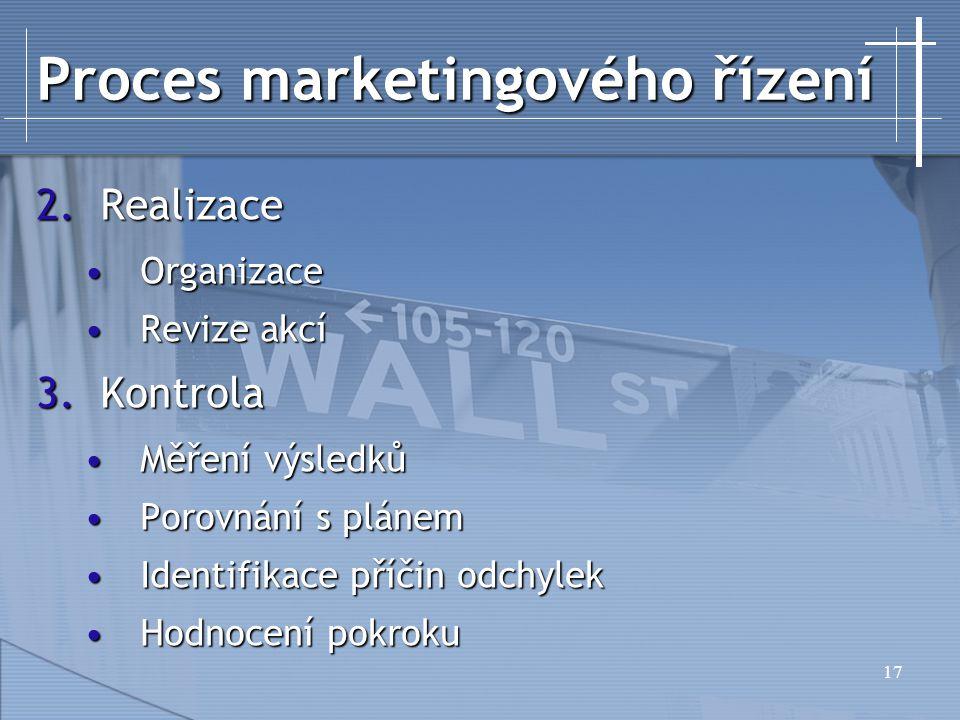 17 Proces marketingového řízení 2.Realizace OrganizaceOrganizace Revize akcíRevize akcí 3.Kontrola Měření výsledkůMěření výsledků Porovnání s plánemPorovnání s plánem Identifikace příčin odchylekIdentifikace příčin odchylek Hodnocení pokrokuHodnocení pokroku