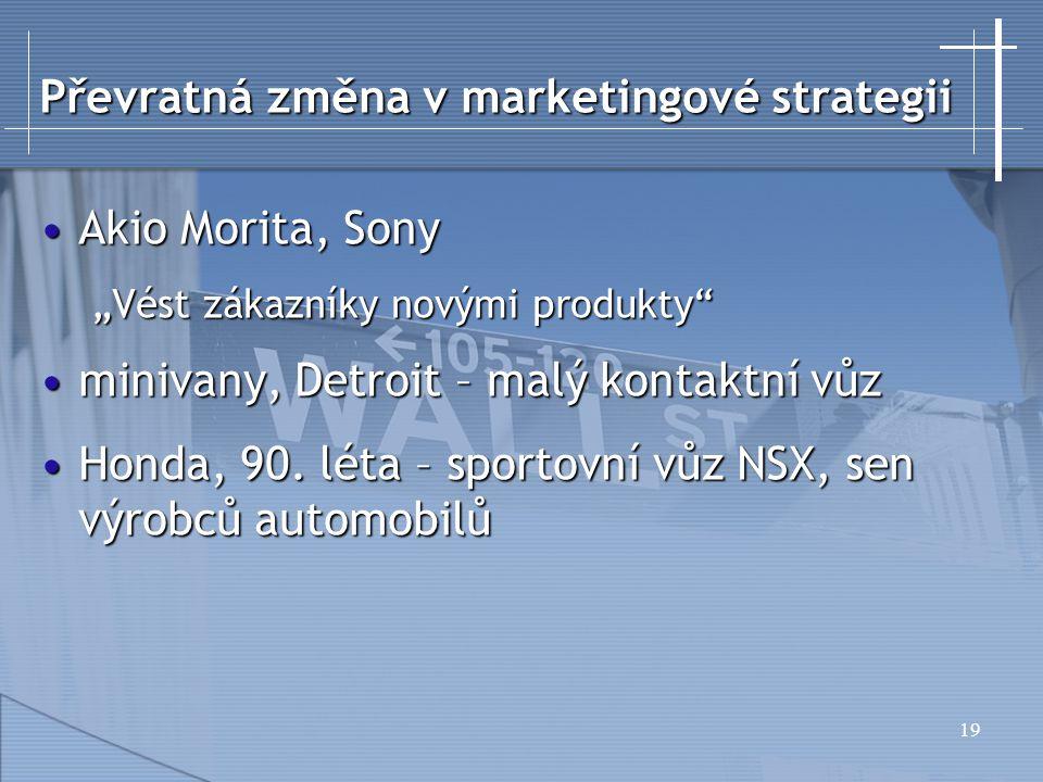 """19 Převratná změna v marketingové strategii Akio Morita, SonyAkio Morita, Sony """"Vést zákazníky novými produkty minivany, Detroit – malý kontaktní vůzminivany, Detroit – malý kontaktní vůz Honda, 90."""