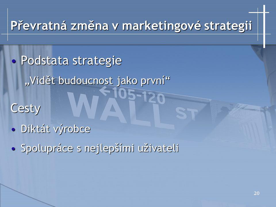 """20 Podstata strategiePodstata strategie """"Vidět budoucnost jako první Cesty Diktát výrobceDiktát výrobce Spolupráce s nejlepšími uživateliSpolupráce s nejlepšími uživateli Převratná změna v marketingové strategii"""