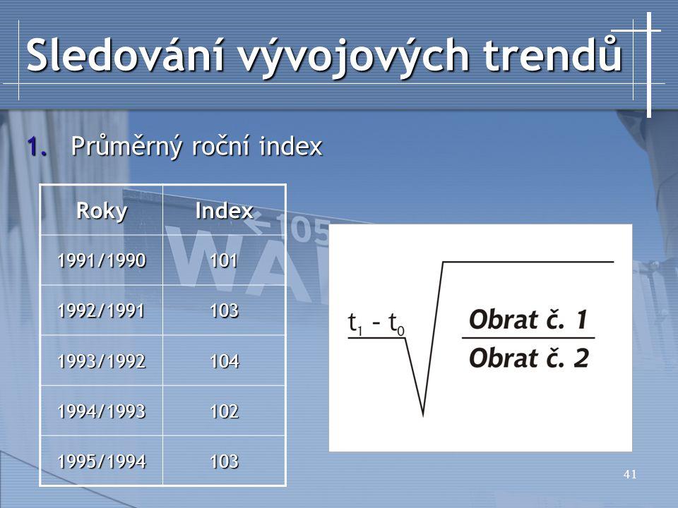 41 Sledování vývojových trendů 1.Průměrný roční index RokyIndex 1991/1990101 1992/1991103 1993/1992104 1994/1993102 1995/1994103