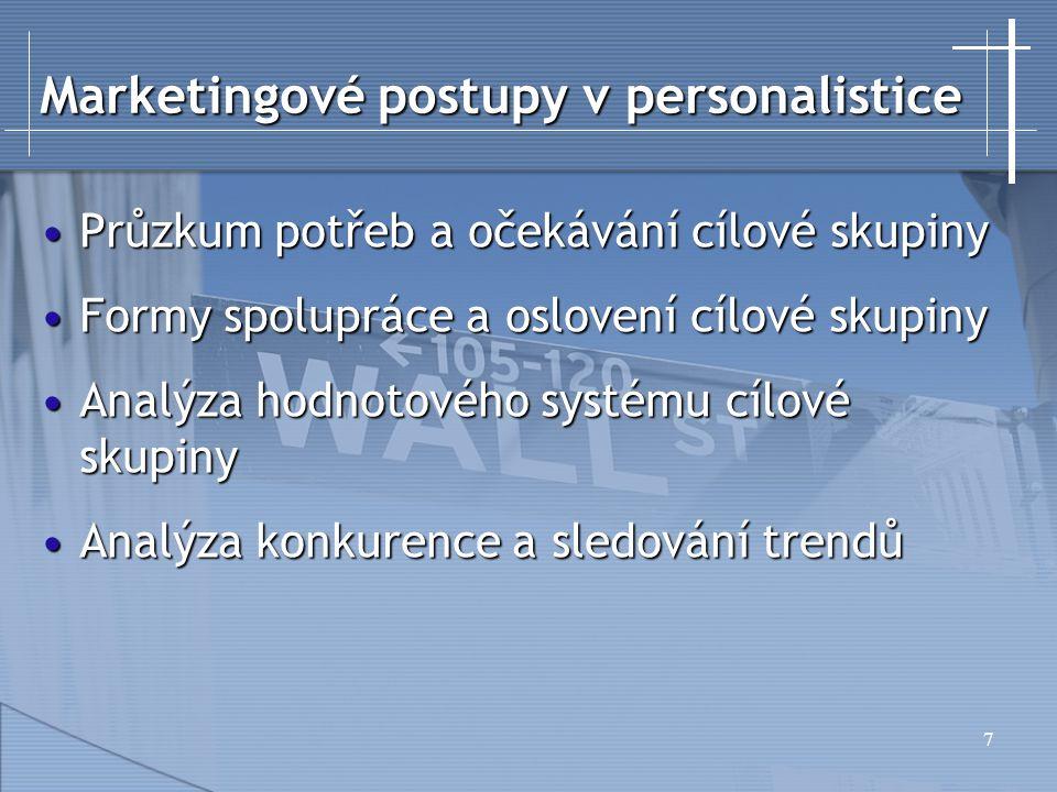 18 Marketingová strategie Cílový trhCílový trh Marketingový mixMarketingový mix ProductPricePower CUSTOMER PlacePromotionPerson