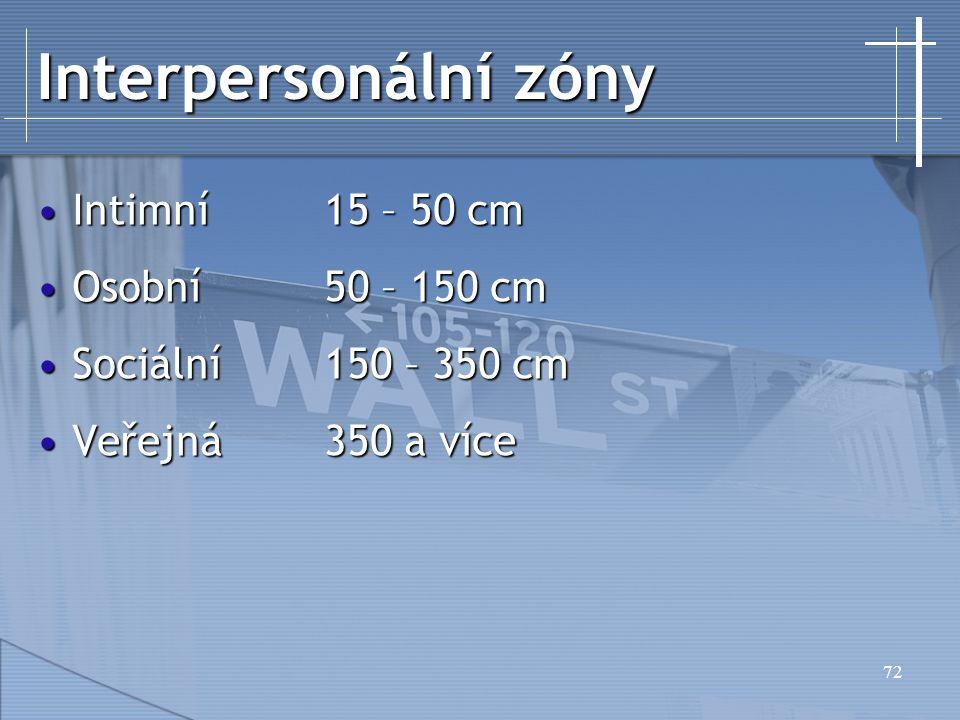 72 Interpersonální zóny Intimní15 – 50 cmIntimní15 – 50 cm Osobní50 – 150 cmOsobní50 – 150 cm Sociální150 – 350 cmSociální150 – 350 cm Veřejná350 a ví