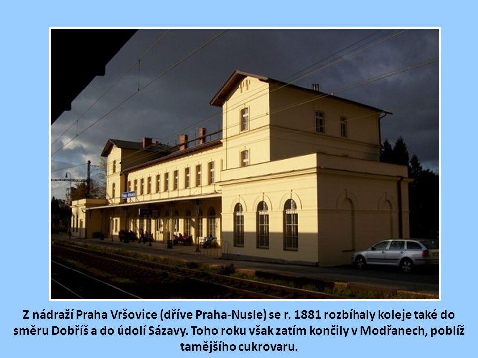 Vyjíždíme v roce 1882 dopoledním parním vláčkem z Nuslí do Modřan.