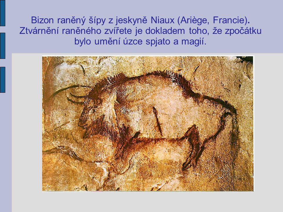 Bizon raněný šípy z jeskyně Niaux (Ariège, Francie). Ztvárnění raněného zvířete je dokladem toho, že zpočátku bylo umění úzce spjato a magií.