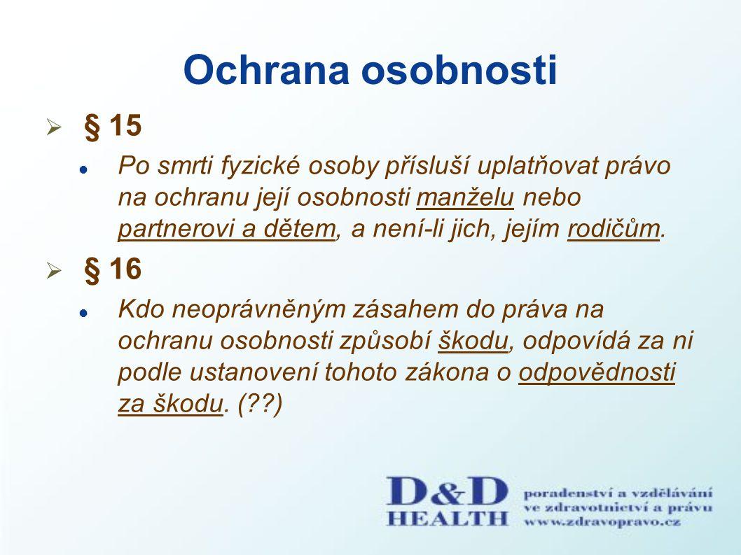 Ochrana osobnosti  § 15 Po smrti fyzické osoby přísluší uplatňovat právo na ochranu její osobnosti manželu nebo partnerovi a dětem, a není-li jich, j