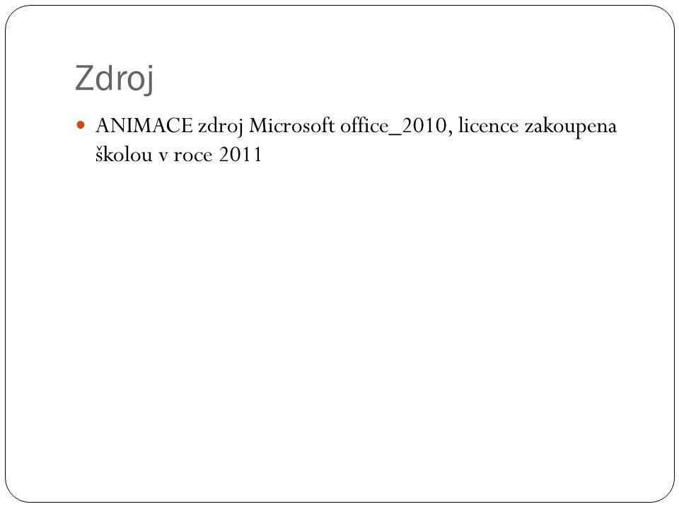 Zdroj ANIMACE zdroj Microsoft office_2010, licence zakoupena školou v roce 2011