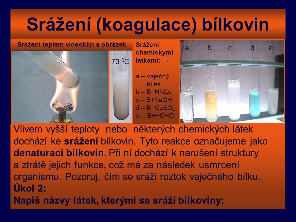Srážení (koagulace) bílkovin Vlivem vyšší teploty nebo některých chemických látek dochází ke srážení bílkovin. Tyto reakce označujeme jako denaturaci