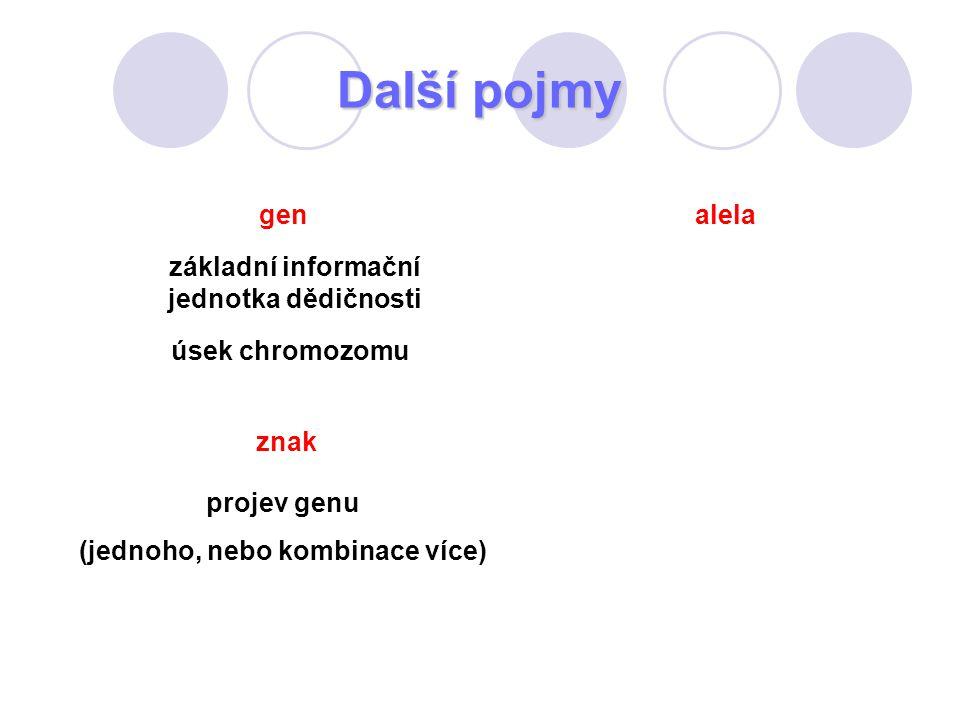 Další pojmy alela projev genu (jednoho, nebo kombinace více) znak úsek chromozomu gen základní informační jednotka dědičnosti