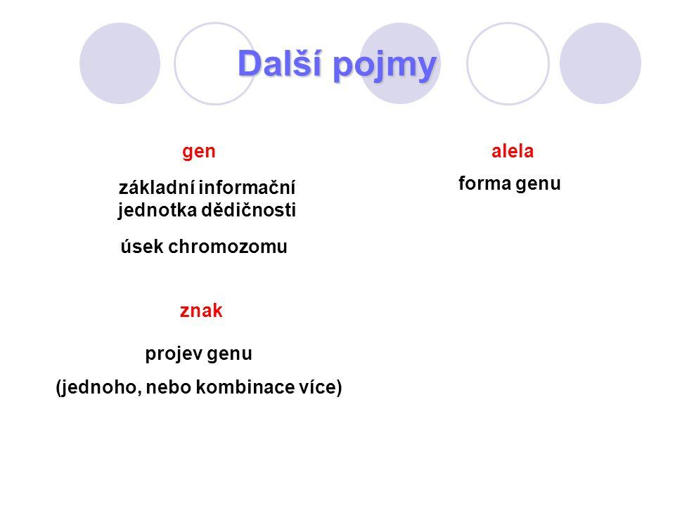 Další pojmy forma genu projev genu (jednoho, nebo kombinace více) znak úsek chromozomu gen základní informační jednotka dědičnosti alela