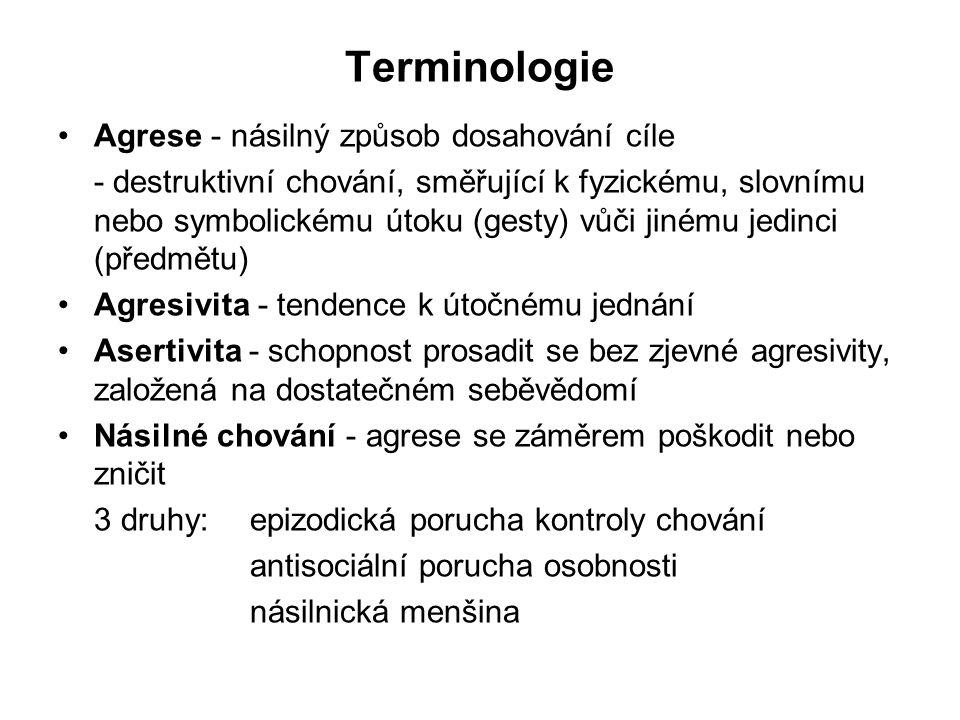Terminologie Agrese - násilný způsob dosahování cíle - destruktivní chování, směřující k fyzickému, slovnímu nebo symbolickému útoku (gesty) vůči jiné