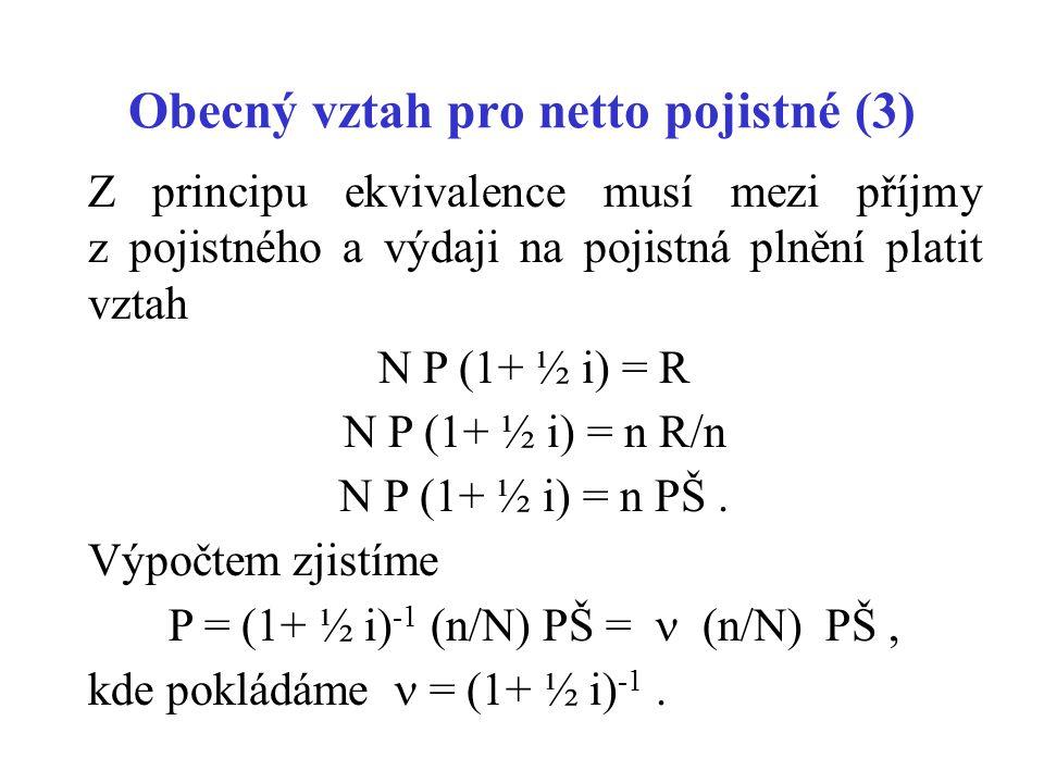 Obecný vztah pro netto pojistné (3) Z principu ekvivalence musí mezi příjmy z pojistného a výdaji na pojistná plnění platit vztah N P (1+ ½ i) = R N P