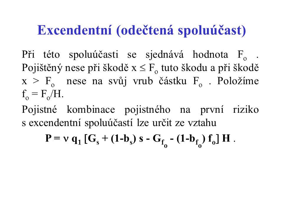 Excendentní (odečtená spoluúčast) Při této spoluúčasti se sjednává hodnota F o. Pojištěný nese při škodě x  F o tuto škodu a při škodě x > F o nese n