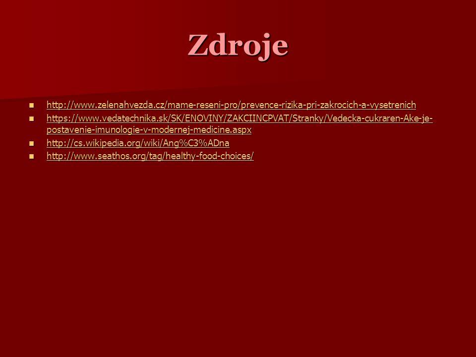 Zdroje http://www.zelenahvezda.cz/mame-reseni-pro/prevence-rizika-pri-zakrocich-a-vysetrenich http://www.zelenahvezda.cz/mame-reseni-pro/prevence-rizika-pri-zakrocich-a-vysetrenich http://www.zelenahvezda.cz/mame-reseni-pro/prevence-rizika-pri-zakrocich-a-vysetrenich https://www.vedatechnika.sk/SK/ENOVINY/ZAKCIINCPVAT/Stranky/Vedecka-cukraren-Ake-je- postavenie-imunologie-v-modernej-medicine.aspx https://www.vedatechnika.sk/SK/ENOVINY/ZAKCIINCPVAT/Stranky/Vedecka-cukraren-Ake-je- postavenie-imunologie-v-modernej-medicine.aspx https://www.vedatechnika.sk/SK/ENOVINY/ZAKCIINCPVAT/Stranky/Vedecka-cukraren-Ake-je- postavenie-imunologie-v-modernej-medicine.aspx https://www.vedatechnika.sk/SK/ENOVINY/ZAKCIINCPVAT/Stranky/Vedecka-cukraren-Ake-je- postavenie-imunologie-v-modernej-medicine.aspx http://cs.wikipedia.org/wiki/Ang%C3%ADna http://cs.wikipedia.org/wiki/Ang%C3%ADna http://cs.wikipedia.org/wiki/Ang%C3%ADna http://www.seathos.org/tag/healthy-food-choices/ http://www.seathos.org/tag/healthy-food-choices/ http://www.seathos.org/tag/healthy-food-choices/
