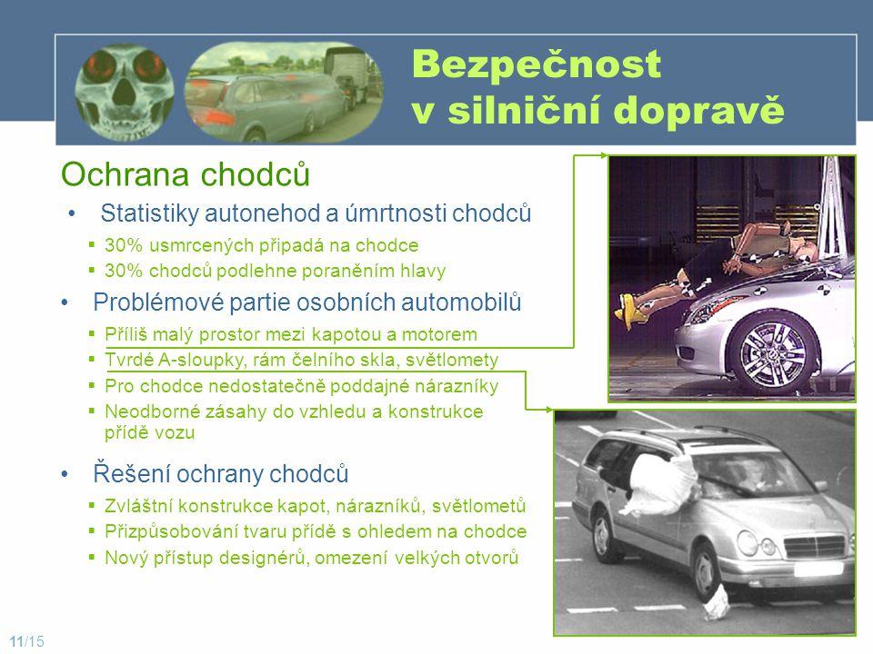 Bezpečnost v silniční dopravě - pohled do budoucnosti Systémy pro plynulý městský provoz Automatizovaný dálniční systém Připojení k síti www (World Wide Web) Centrální sběr a rozesílání dat Automatická navigace po městě dle zadaného cílu Města bez kolon, nehod, čekání a s nižší ekologickou zátěží Technika (GPS nebo vodící body v komunikaci) dle zadaného cílu sama vede automobil – řidič odpočívá Nutnost přizpůsobení vozidlům bez této technologie Projekty bezpečných vozidel Telematika – dokonalé skloubení prvků a.