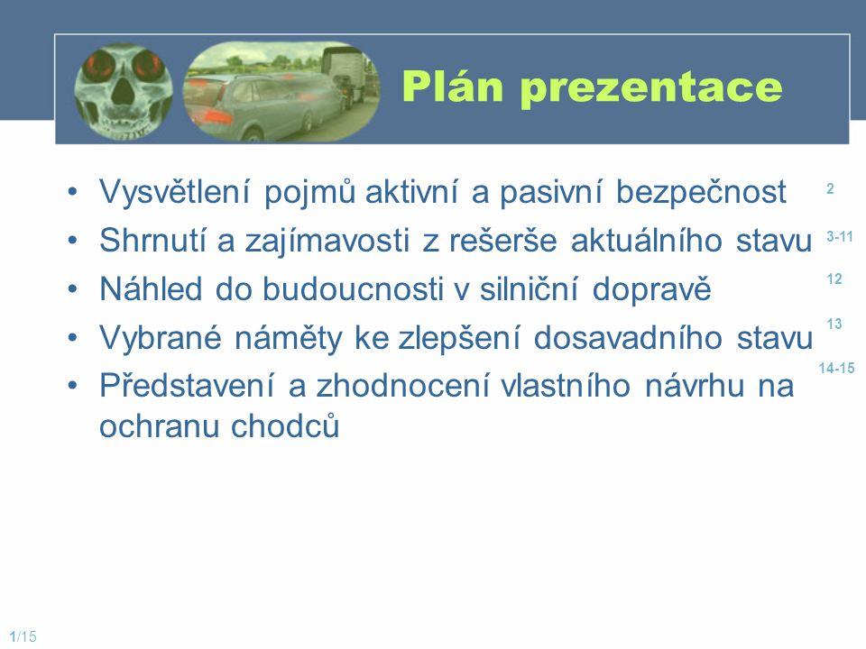 Plán prezentace Vysvětlení pojmů aktivní a pasivní bezpečnost Shrnutí a zajímavosti z rešerše aktuálního stavu Náhled do budoucnosti v silniční doprav