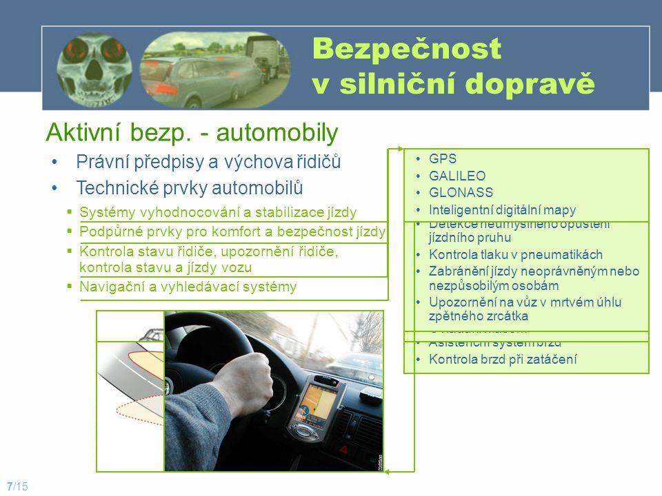 Bezpečnost v silniční dopravě Právní předpisy a výchova řidičů Aktivní bezp. - automobily Technické prvky automobilů  Systémy vyhodnocování a stabili