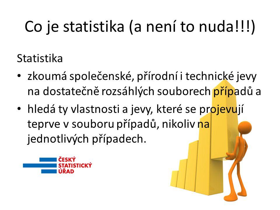 Co je statistika (a není to nuda!!!) Statistika zkoumá společenské, přírodní i technické jevy na dostatečně rozsáhlých souborech případů a hledá ty vlastnosti a jevy, které se projevují teprve v souboru případů, nikoliv na jednotlivých případech.