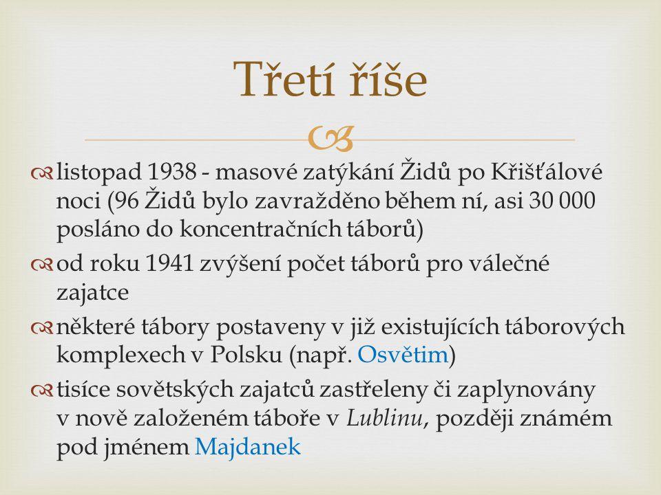   listopad 1938 - masové zatýkání Židů po Křišťálové noci (96 Židů bylo zavražděno během ní, asi 30 000 posláno do koncentračních táborů)  od roku 1941 zvýšení počet táborů pro válečné zajatce  některé tábory postaveny v již existujících táborových komplexech v Polsku (např.