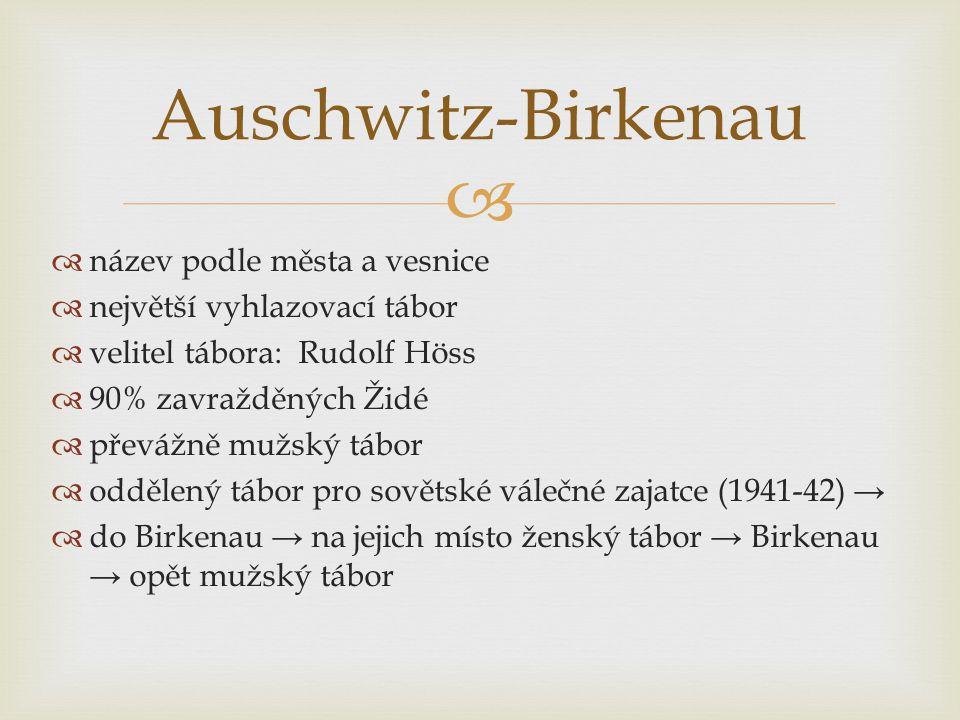   název podle města a vesnice  největší vyhlazovací tábor  velitel tábora: Rudolf Höss  90% zavražděných Židé  převážně mužský tábor  oddělený tábor pro sovětské válečné zajatce (1941-42) →  do Birkenau → na jejich místo ženský tábor → Birkenau → opět mužský tábor Auschwitz-Birkenau