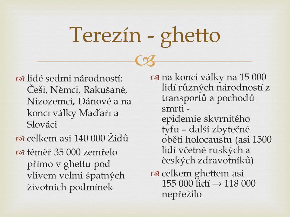  Terezín - ghetto  lidé sedmi národností: Češi, Němci, Rakušané, Nizozemci, Dánové a na konci války Maďaři a Slováci  celkem asi 140 000 Židů  téměř 35 000 zemřelo přímo v ghettu pod vlivem velmi špatných životních podmínek  na konci války na 15 000 lidí různých národností z transportů a pochodů smrti - epidemie skvrnitého tyfu – další zbytečné oběti holocaustu (asi 1500 lidí včetně ruských a českých zdravotníků)  celkem ghettem asi 155 000 lidí → 118 000 nepřežilo