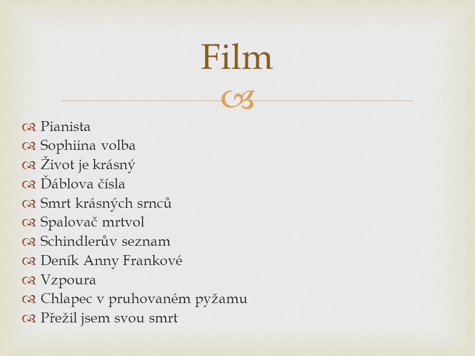   Pianista  Sophiina volba  Život je krásný  Ďáblova čísla  Smrt krásných srnců  Spalovač mrtvol  Schindlerův seznam  Deník Anny Frankové  Vzpoura  Chlapec v pruhovaném pyžamu  Přežil jsem svou smrt Film