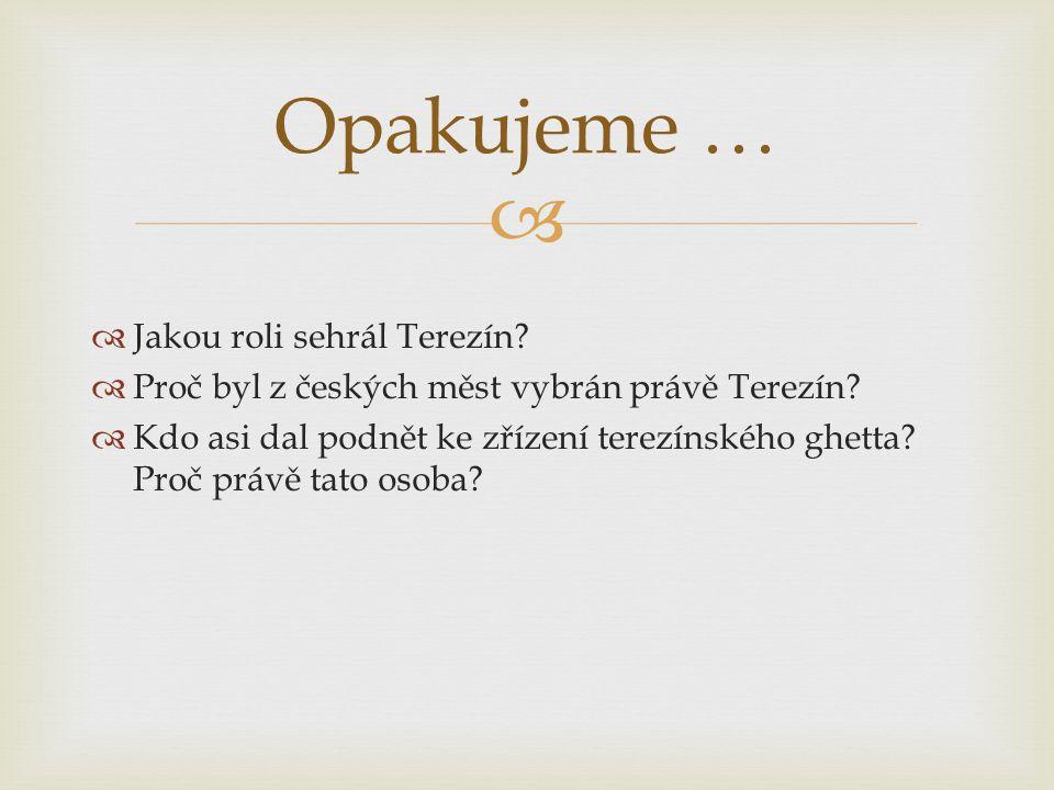   Jakou roli sehrál Terezín. Proč byl z českých měst vybrán právě Terezín.