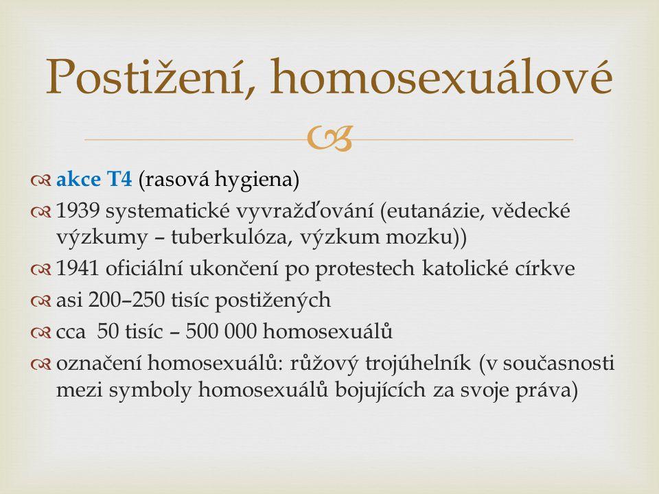   akce T4 (rasová hygiena)  1939 systematické vyvražďování (eutanázie, vědecké výzkumy – tuberkulóza, výzkum mozku))  1941 oficiální ukončení po protestech katolické církve  asi 200–250 tisíc postižených  cca 50 tisíc – 500 000 homosexuálů  označení homosexuálů: růžový trojúhelník (v současnosti mezi symboly homosexuálů bojujících za svoje práva) Postižení, homosexuálové