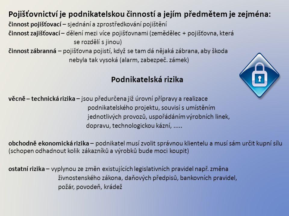 Pojišťovnictví je podnikatelskou činností a jejím předmětem je zejména: činnost pojišťovací – sjednání a zprostředkování pojištění činnost zajišťovací