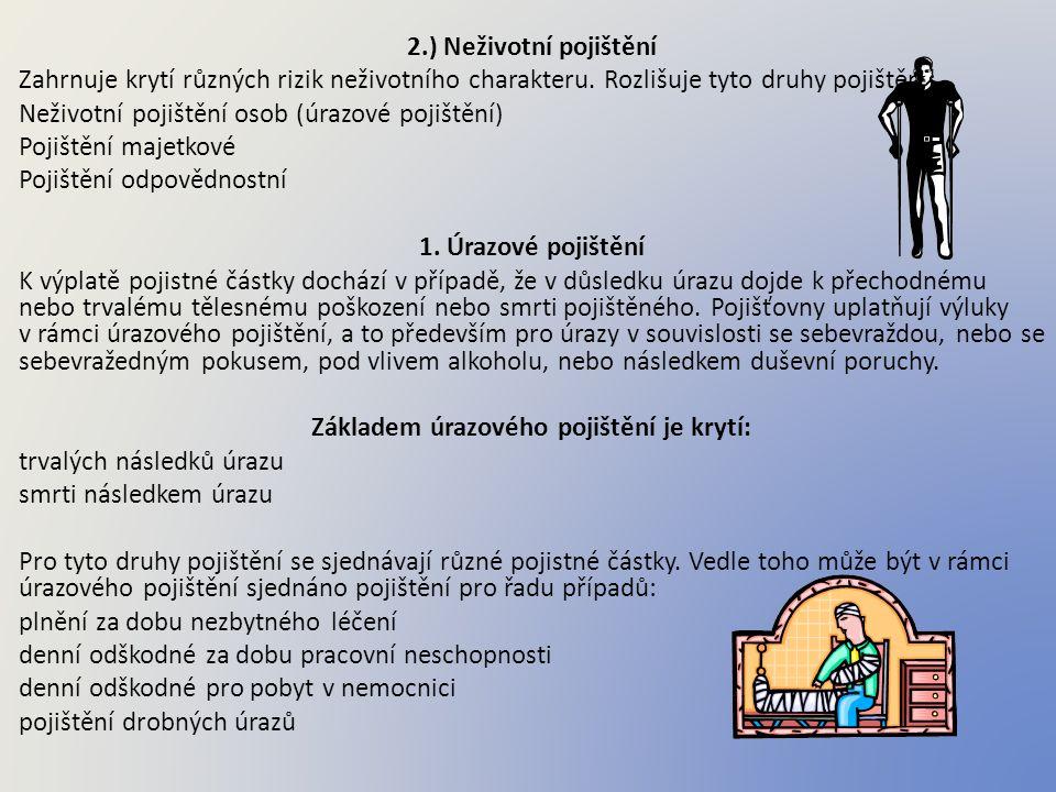 2.) Neživotní pojištění Zahrnuje krytí různých rizik neživotního charakteru. Rozlišuje tyto druhy pojištění: Neživotní pojištění osob (úrazové pojiště