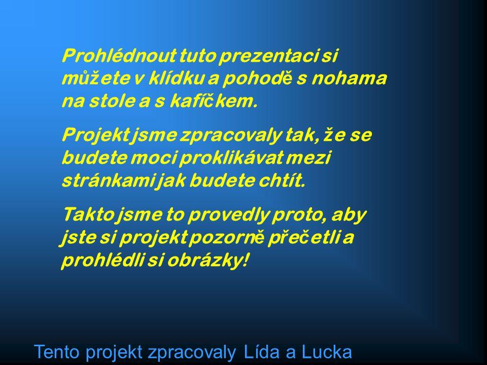 Tento projekt zpracovaly Lída a Lucka Prohlédnout tuto prezentaci si m ůž ete v klídku a pohod ě s nohama na stole a s kafí č kem.