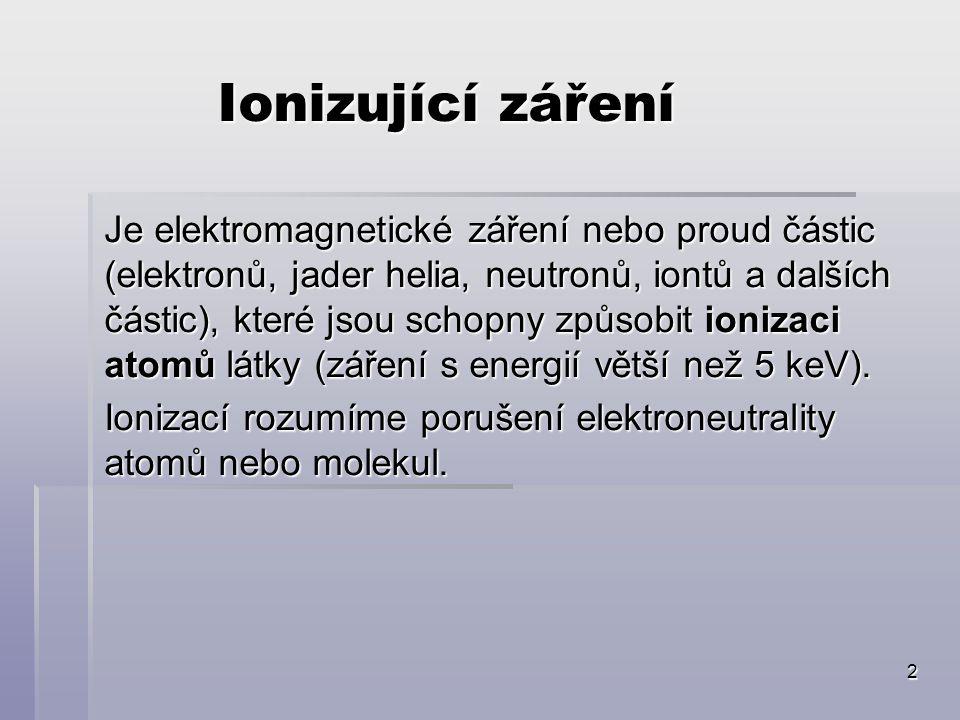 2 Ionizující záření Je elektromagnetické záření nebo proud částic (elektronů, jader helia, neutronů, iontů a dalších částic), které jsou schopny způsobit ionizaci atomů látky (záření s energií větší než 5 keV).