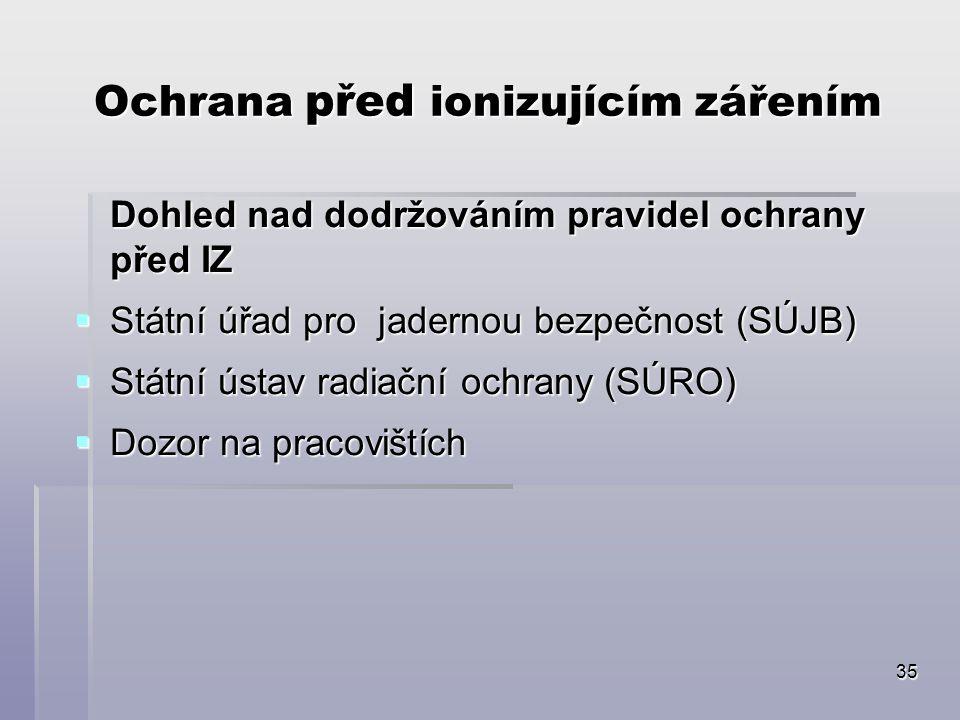 35 Ochrana před ionizujícím zářením Dohled nad dodržováním pravidel ochrany před IZ  Státní úřad pro jadernou bezpečnost (SÚJB)  Státní ústav radiační ochrany (SÚRO)  Dozor na pracovištích
