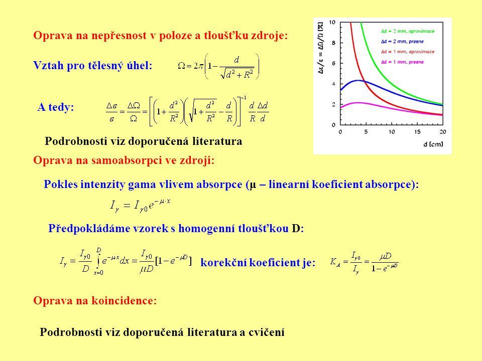 Oprava na nepřesnost v poloze a tloušťku zdroje: Oprava na samoabsorpci ve zdroji: Oprava na koincidence: Pokles intenzity gama vlivem absorpce (μ – l