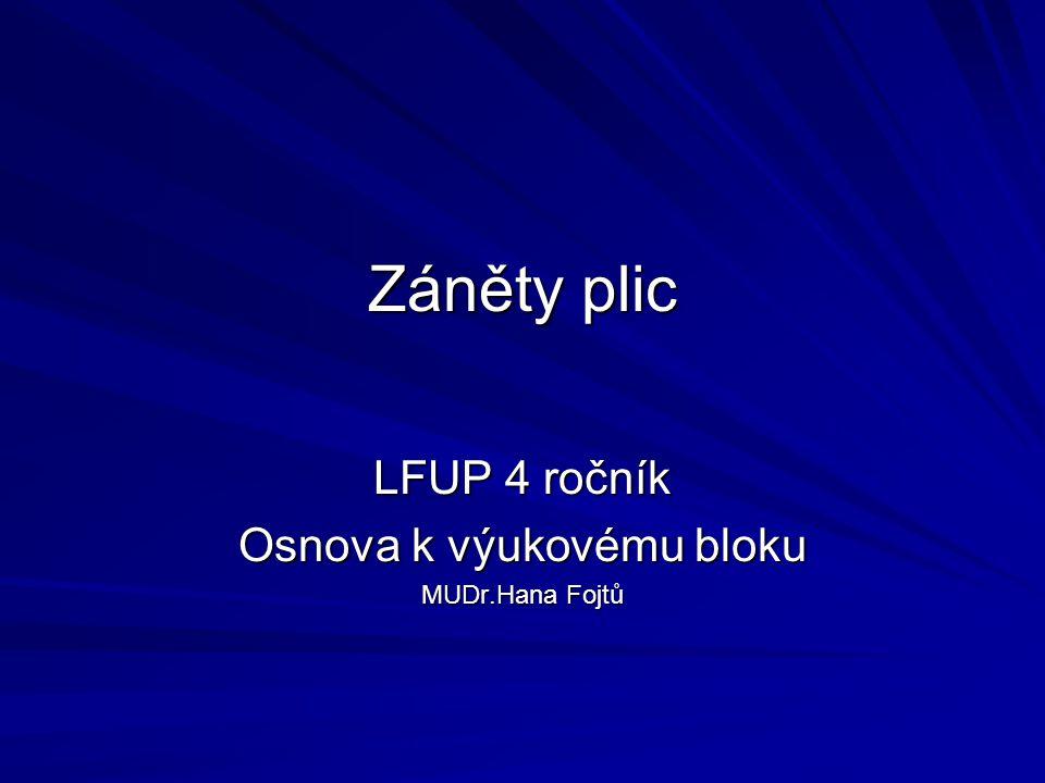 Záněty plic LFUP 4 ročník Osnova k výukovému bloku MUDr.Hana Fojtů