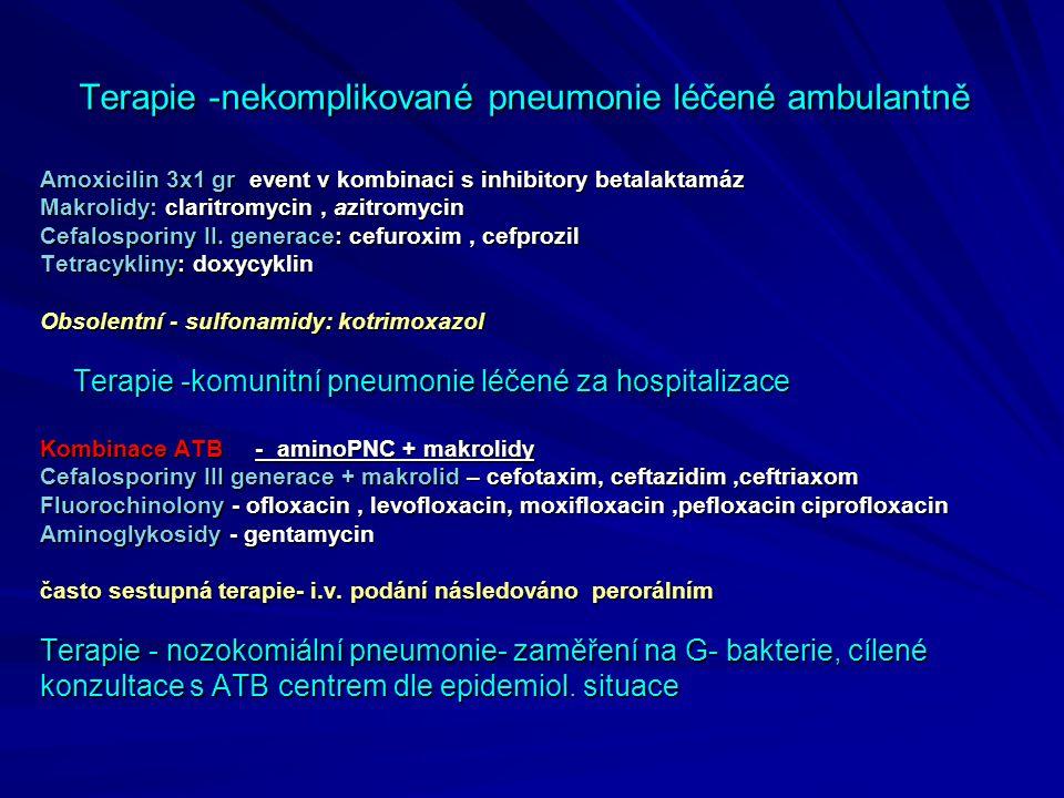 Terapie -nekomplikované pneumonie léčené ambulantně Amoxicilin 3x1 gr event v kombinaci s inhibitory betalaktamáz Makrolidy: claritromycin, azitromyci