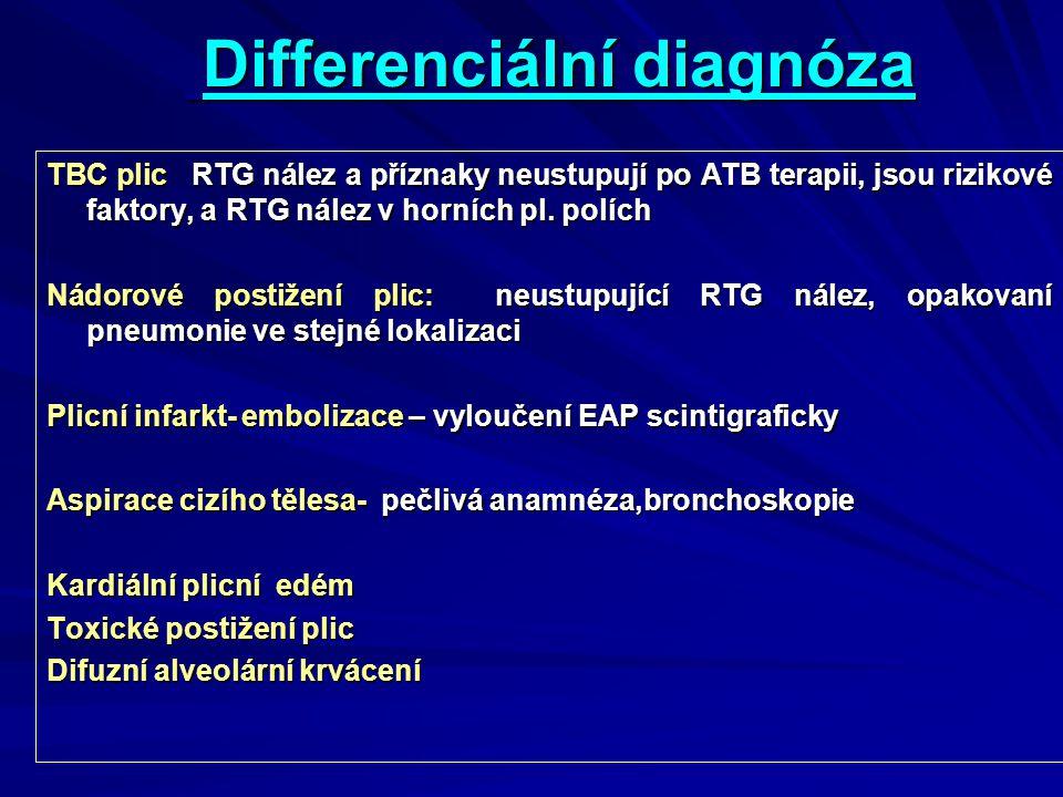 Differenciální diagnóza Differenciální diagnóza TBC plic RTG nález a příznaky neustupují po ATB terapii, jsou rizikové faktory, a RTG nález v horních