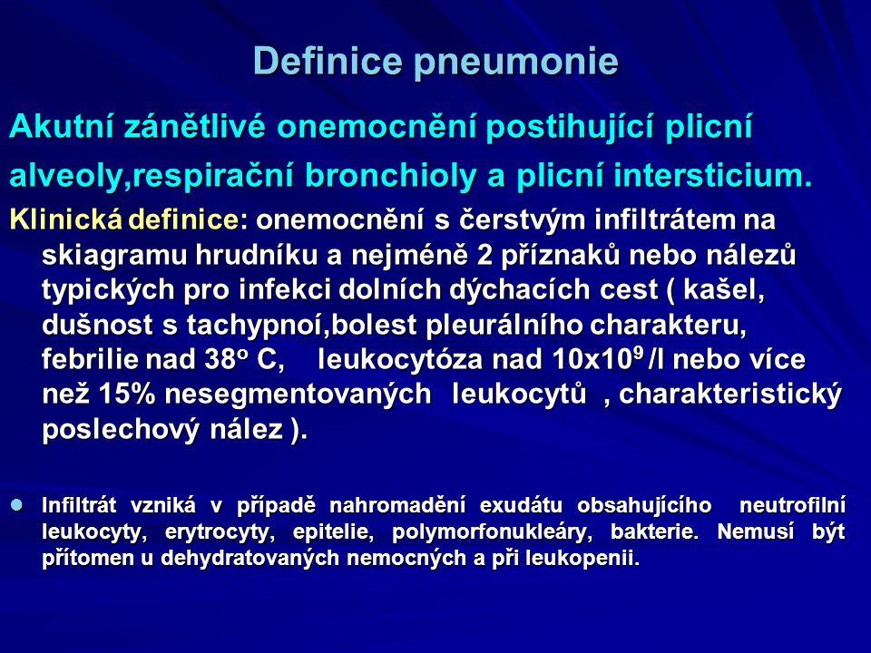 Definice pneumonie Akutní zánětlivé onemocnění postihující plicní alveoly,respirační bronchioly a plicní intersticium. Klinická definice: onemocnění s