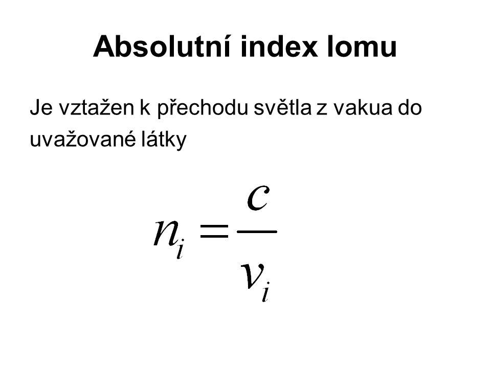 Absolutní index lomu Je vztažen k přechodu světla z vakua do uvažované látky