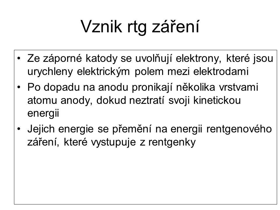 Vznik rtg záření Ze záporné katody se uvolňují elektrony, které jsou urychleny elektrickým polem mezi elektrodami Po dopadu na anodu pronikají několik