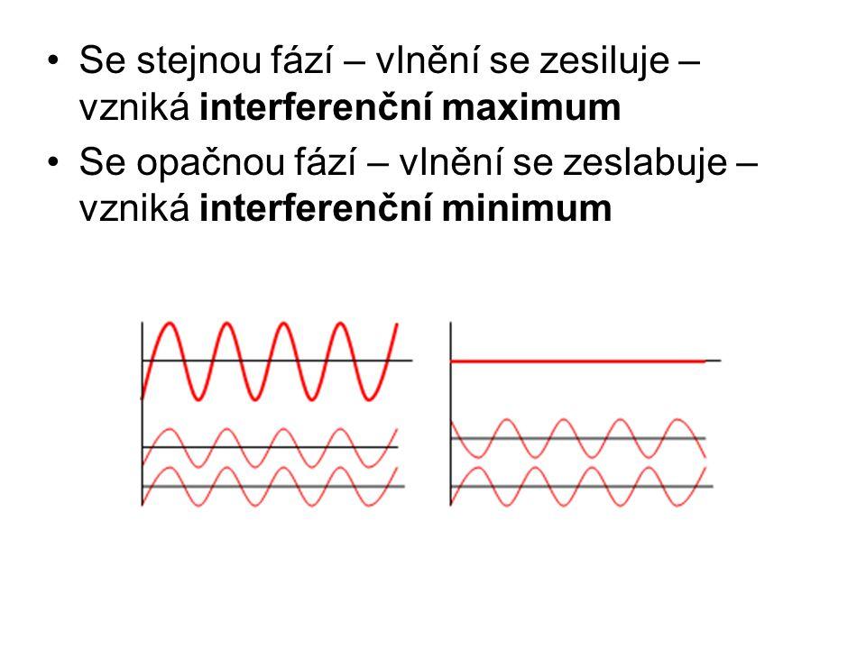 Se stejnou fází – vlnění se zesiluje – vzniká interferenční maximum Se opačnou fází – vlnění se zeslabuje – vzniká interferenční minimum