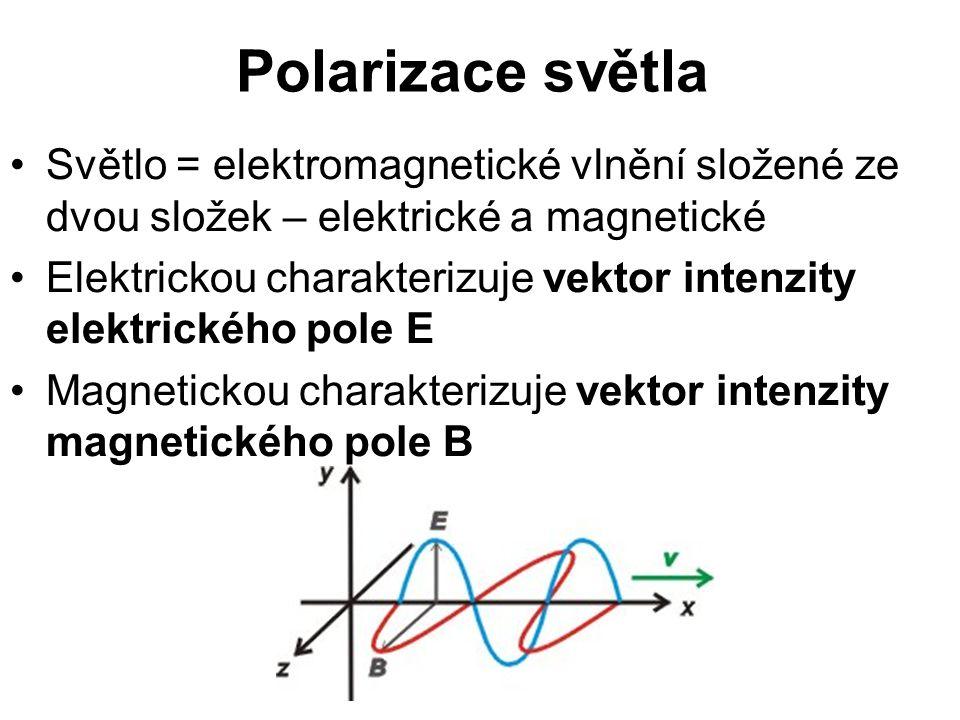 Polarizace světla Světlo = elektromagnetické vlnění složené ze dvou složek – elektrické a magnetické Elektrickou charakterizuje vektor intenzity elekt