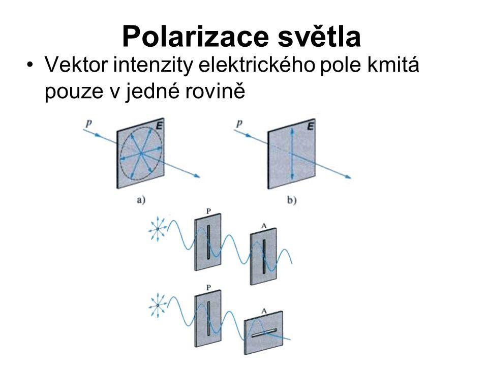 Polarizace světla Vektor intenzity elektrického pole kmitá pouze v jedné rovině