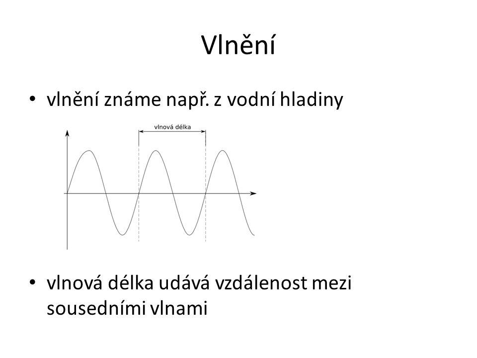 Elektromagnetické záření (elektromagnetické vlnění) ve vakuu se šíří rychlostí světla (c = 300 000 000 m/s) frekvence (počet opakování za 1 sekundu) f = c / λ f … frekvence [Hz] c … rychlost světla [m/s] λ … vlnová délka [m]