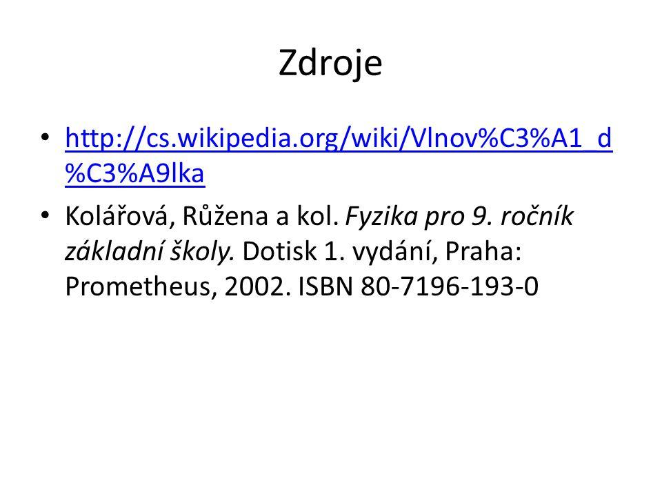 Zdroje http://cs.wikipedia.org/wiki/Vlnov%C3%A1_d %C3%A9lka http://cs.wikipedia.org/wiki/Vlnov%C3%A1_d %C3%A9lka Kolářová, Růžena a kol. Fyzika pro 9.