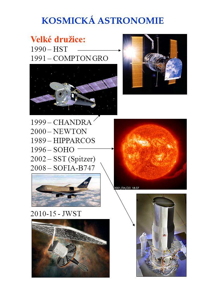 KOSMICKÁ ASTRONOMIE Velké družice: 1990 – HST 1991 – COMPTON GRO 1999 – CHANDRA 2000 – NEWTON 1989 – HIPPARCOS 1996 – SOHO 2002 – SST (Spitzer) 2008 – SOFIA-B747 2010-15 - JWST