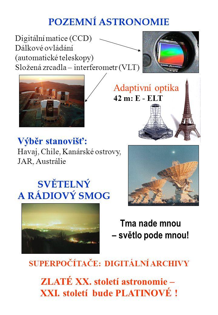 POZEMNÍ ASTRONOMIE Digitální matice (CCD) Dálkové ovládání (automatické teleskopy) Složená zrcadla – interferometr (VLT) Výběr stanovišť: Havaj, Chile, Kanárské ostrovy, JAR, Austrálie Adaptivní optika 42 m: E - ELT SVĚTELNÝ A RÁDIOVÝ SMOG Tma nade mnou – světlo pode mnou.