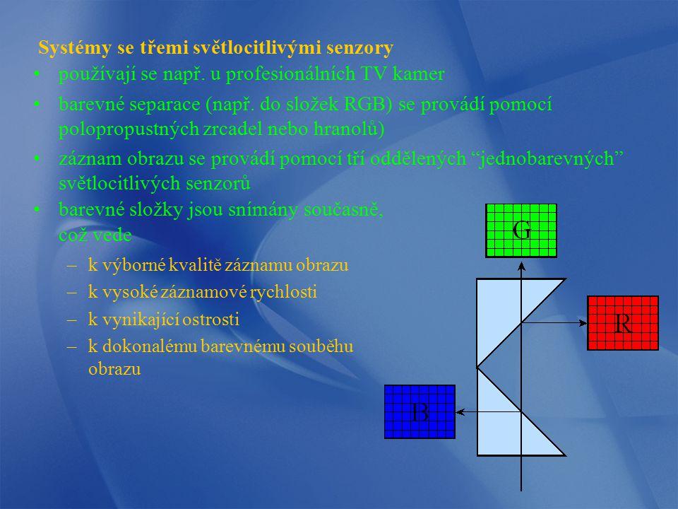 Systémy se třemi světlocitlivými senzory používají se např. u profesionálních TV kamer barevné separace (např. do složek RGB) se provádí pomocí polopr
